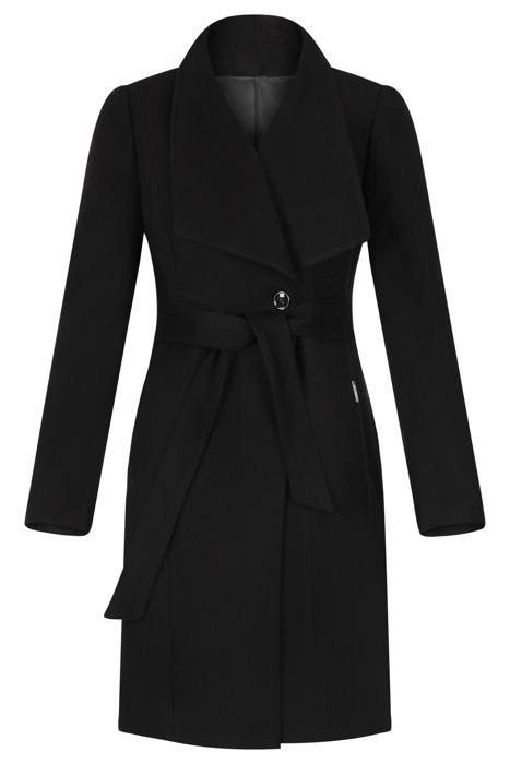 Płaszcz damski Zartex Rose czarny z paskiem