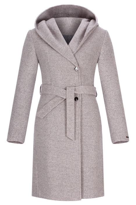 Płaszcz damski zimowy Moris Pamela szary wiązany z paskiem