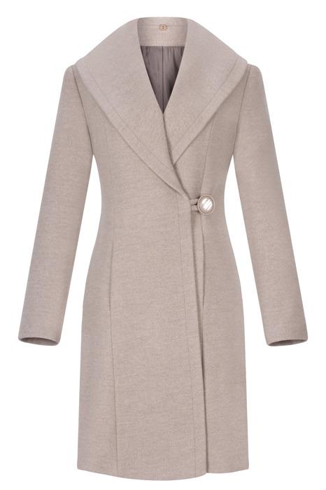 Płaszcz damski zimowy Szalowy beżowy z wełną