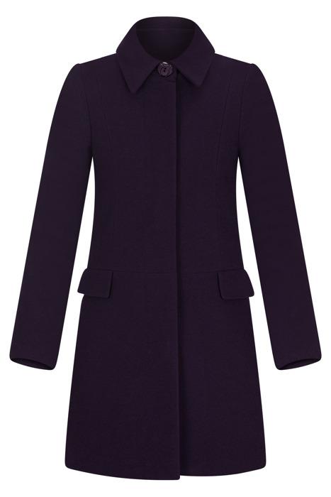 Płaszcz zimowy Caro Fashion 001 fioletowy z kołnierzykiem wełna