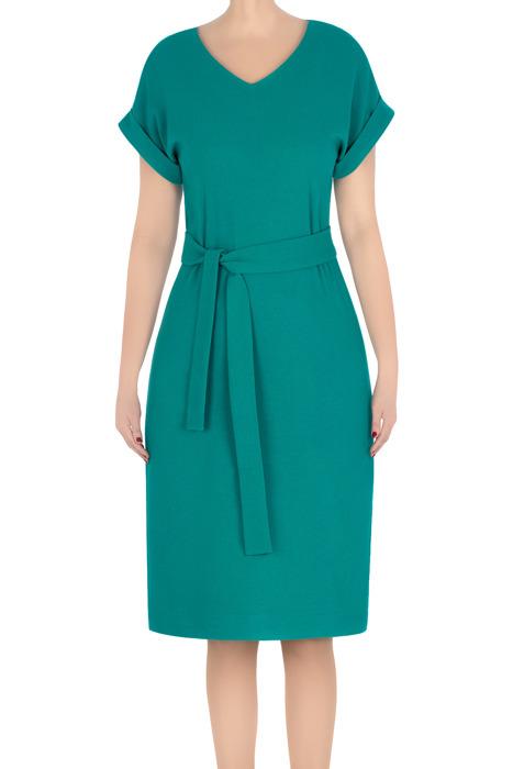 Stylowa sukienka damska Asia zielona z paskiem 3298