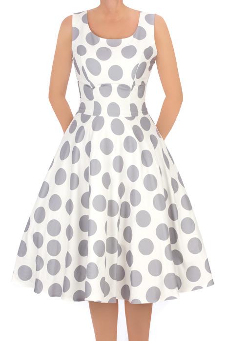 Sukienka Cller rozkloszowania ecru w szare grochy pin-up