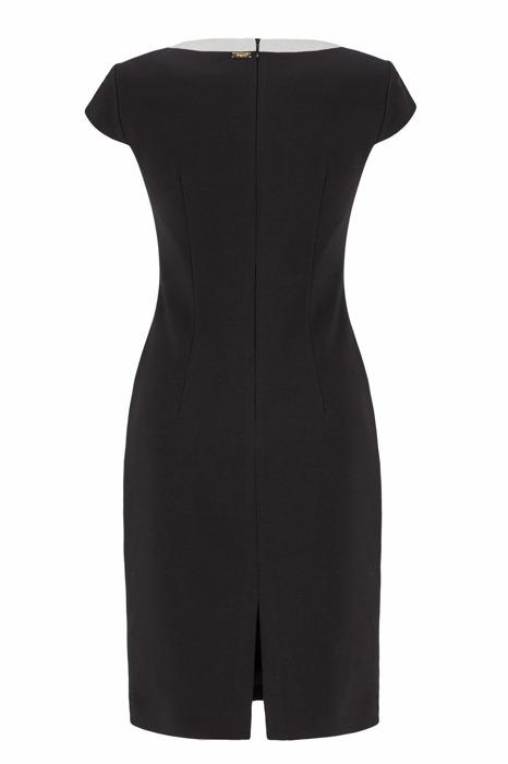 Sukienka Dagon 2084 czarna z ozdobą przy dekolcie