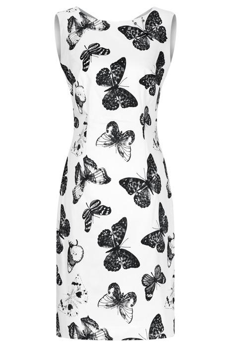 Sukienka Dagon 2205 ecru w czarne motyle