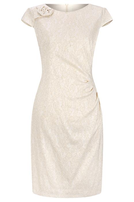 Sukienka Dagon 2223 złoto-kremowa z marszczeniem na lewym boku