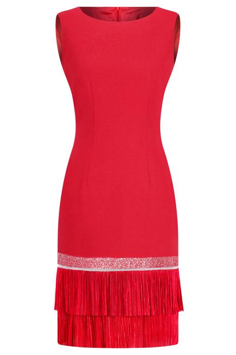 Sukienka Dagon 2311 czerwona z podwójną falbanką na dole