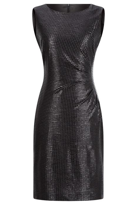 Sukienka Dagon 2317 czarna marszczona na lewym boku, błyszcząca