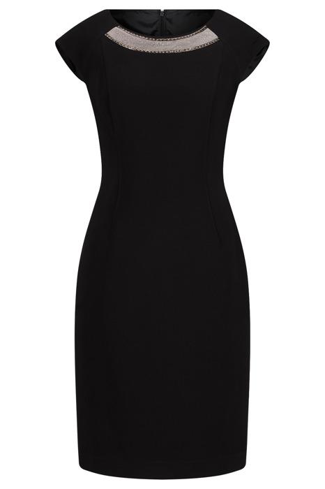 Sukienka Dagon 2326 klasyczna czarna z ozdobą przy szyi