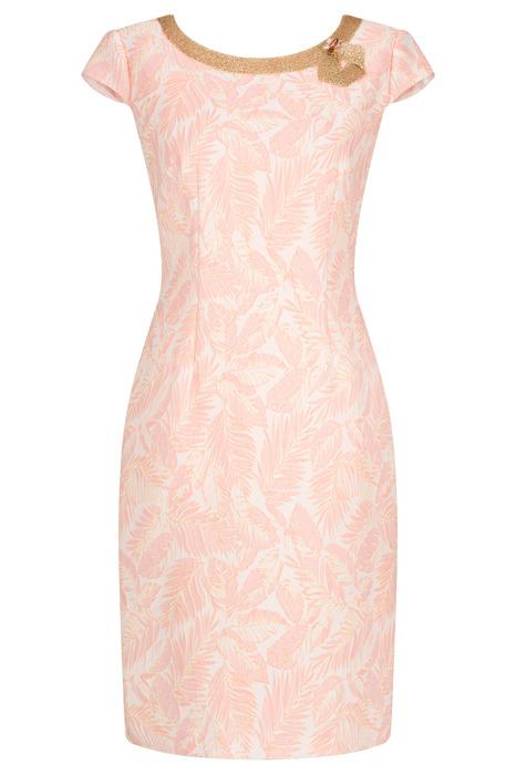 Sukienka Dagon 2388 różowo-kremowa z ozdobą przy dekolcie