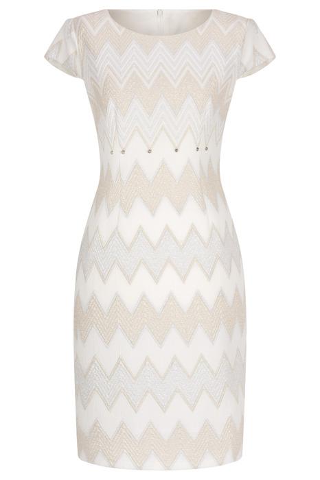 Sukienka Dagon 2410 ecru-beżowa ze srebrną nitką w geometryczny wzór