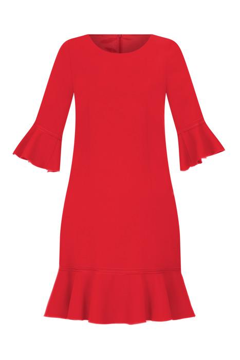 Sukienka Dagon 2526 czerwona z falbaną