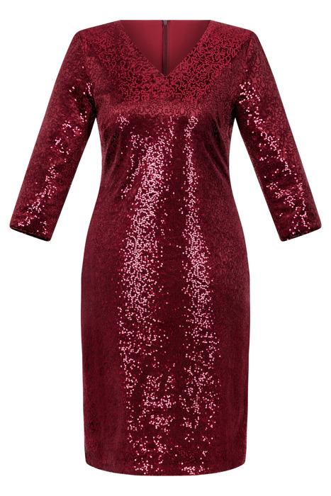 Sukienka Dagon 2529 bordowa w cekiny