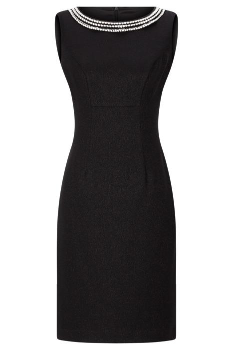 Sukienka Dagon 2532 czarna z ozdobnymi perłami