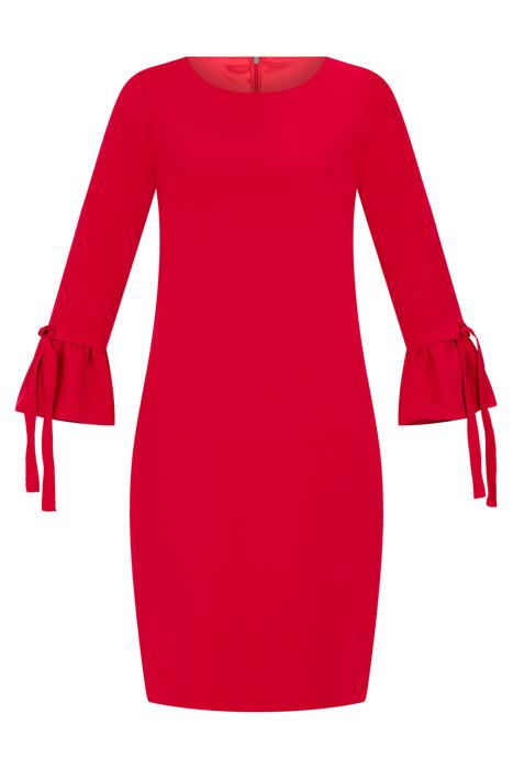 Sukienka Dagon 2536 czerwona rękaw z falbanką i wiązaniem