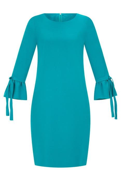 Sukienka Dagon 2536 morski rękaw z falbanką i wiązaniem