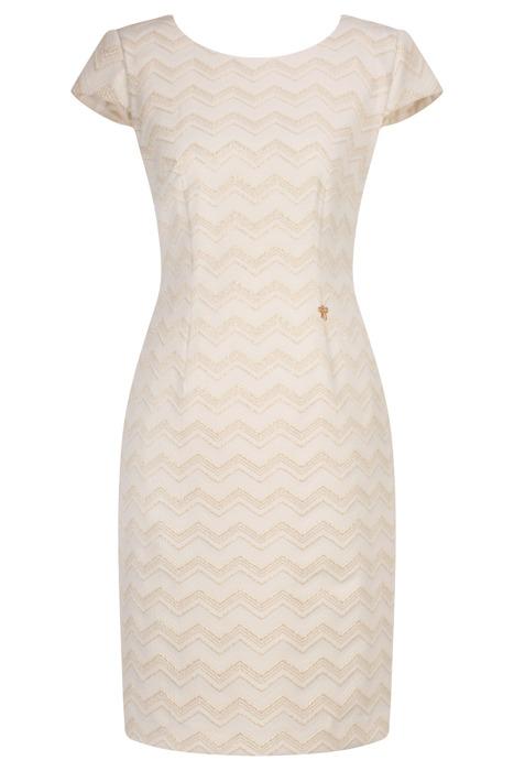 Sukienka Dagon 2567 jasny beż w geometryczne wzory