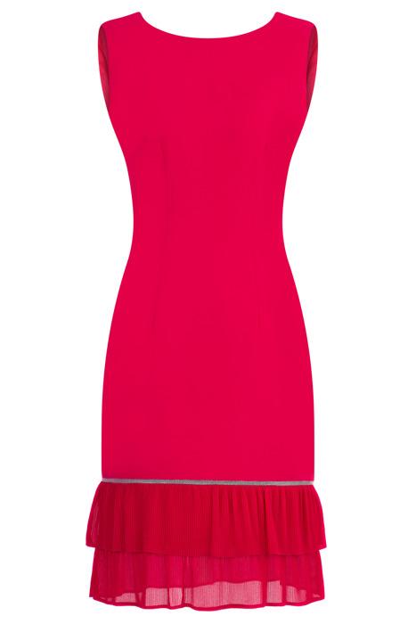 Sukienka Dagon 2606 amarantowa z podwójną falbanką na dole