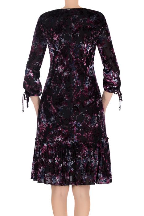 Sukienka Dagon 2701 czarna w różowe kwiaty a'la welur