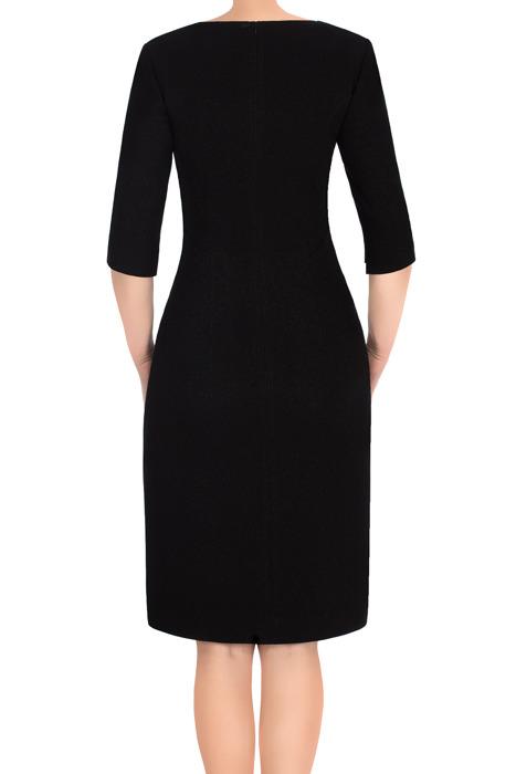 Sukienka Dagon 2737 czarna z aplikacją imitującą suwak