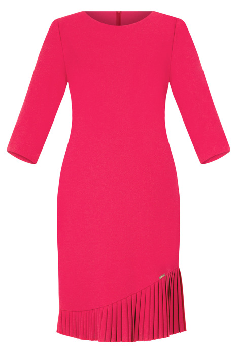 Sukienka Efekt amarantowa z falbaną