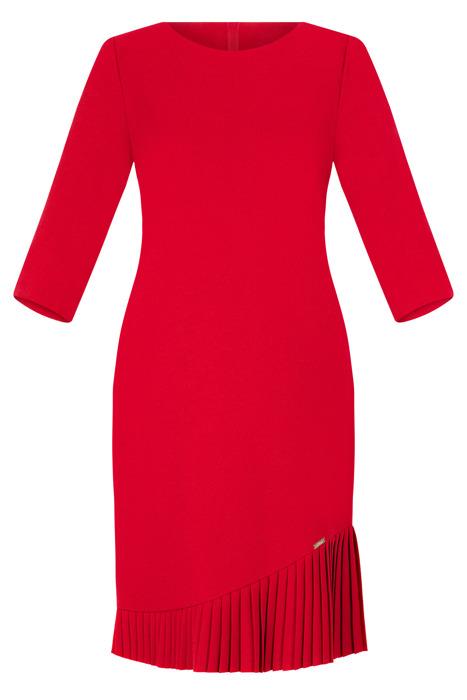 Sukienka Efekt czerwona z falbaną