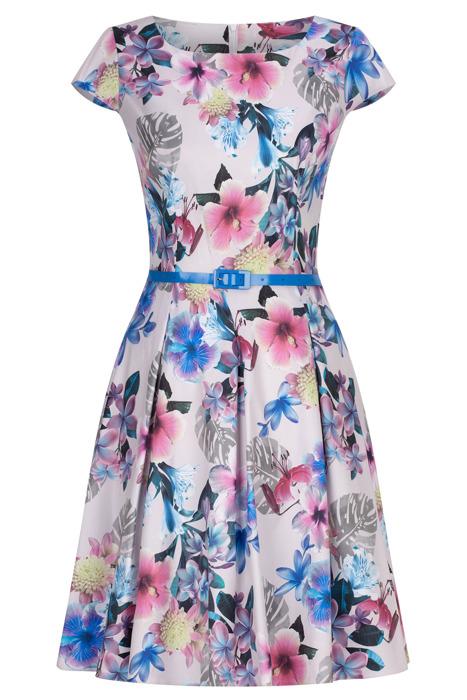 Sukienka Gotta szara w kolorowe kwiaty z paskiem w talii