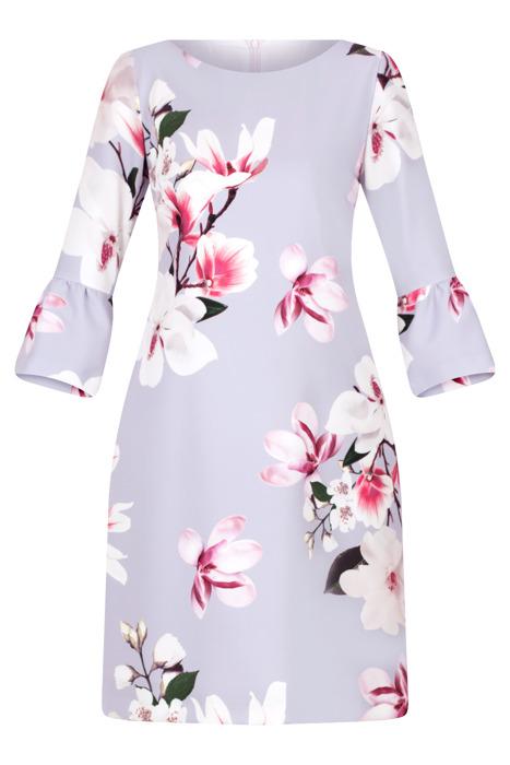 Sukienka J.S.A. Alina wrzosowa w kolorowe kwiaty