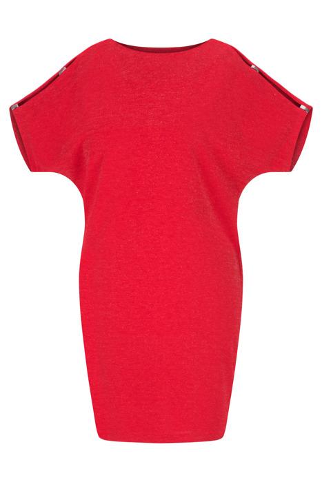 Sukienka Kasia I czerwona ze srebrną nitką w stylu nietoperz