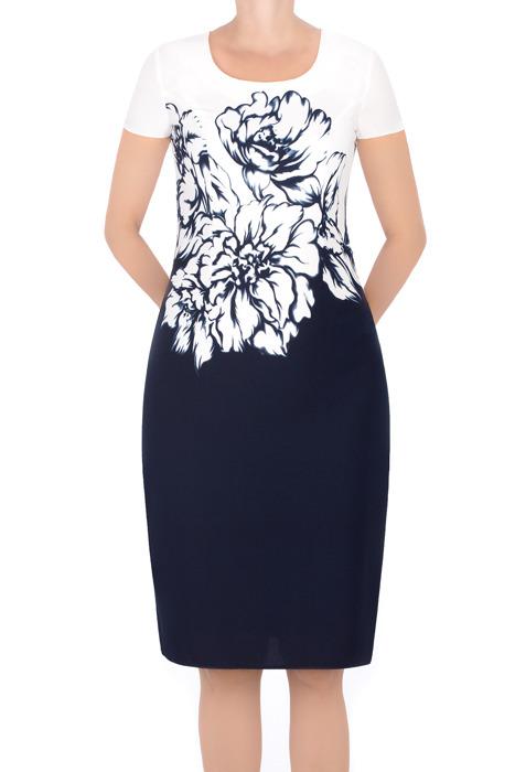 Sukienka Kolor granatowa w kwiaty góra biała