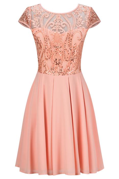 Sukienka Koton IV młodzieżowa rozkloszowana łososiowa