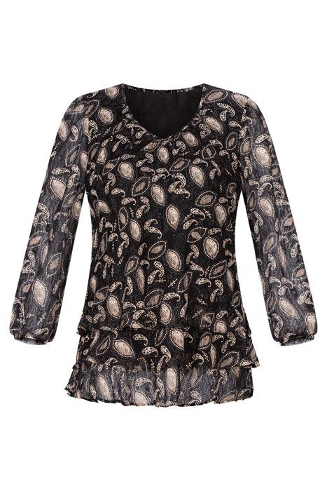Wizytowa bluzka damska Mercedes czarna w złote wzory
