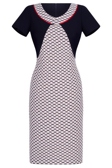 Wizytowa sukienka Andrea granatowo-czerwona w geometrycznym wzorze