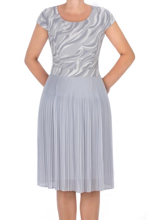 Wizytowa sukienka bakap szara z plisowanym dołem