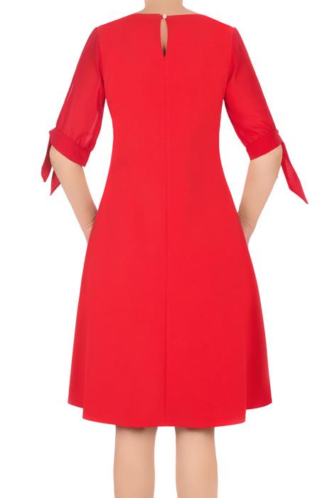 Zwiewna sukienka Żan-Mar trapezowa czerwona