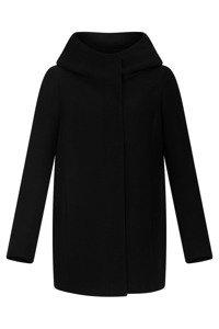 Krótki płaszcz damski zimowy Moris Kinga czarny z kapturem