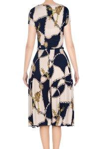 Stylowa sukienka damska Gotta granatowo-beżowa w złote łańcuchy 3293