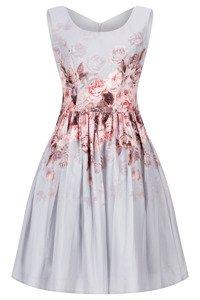 Sukienka Cller szara rozkloszowana o motywie kwiatowym