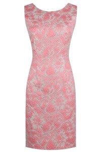 Sukienka Dagon 1858 różowo-beżowa