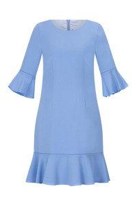 Sukienka Dagon 2526 błękit królewski z falbaną