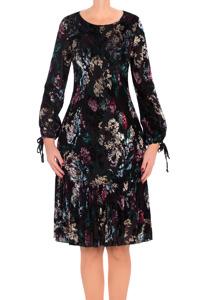 Sukienka Dagon 2701 czarna w kolorowe kwiaty a'la welur